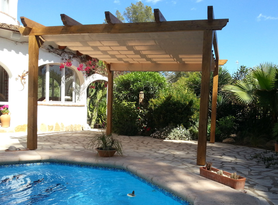 Wood Pergola with Integrated Awning