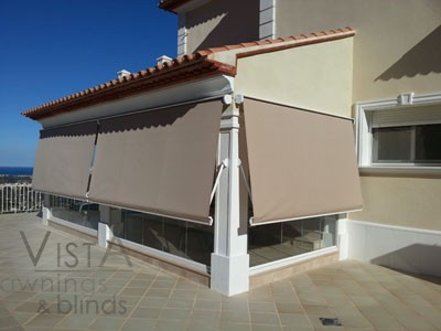 Drop Arm Awnings with double drop fabric