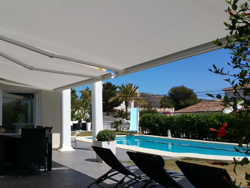 Fully Boxed Motorised Awnings in Soltis fabric _ Moraira