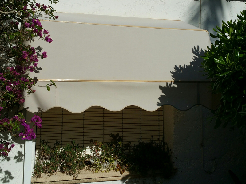 Capota Awning in Grey with Black Metalwork to match Curtains